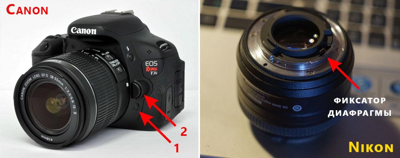 Как зафиксировать диафрагму на Nikon и Canon
